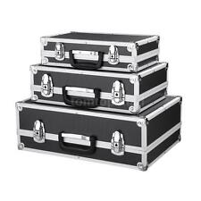 Set Of 3 Tool Box Flight Case Boxes Aluminum Toolboxes Cash Safe Boxes Black