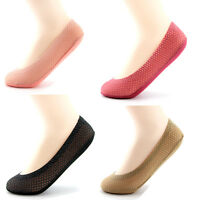 5 Pairs Women's No Show Socks Invisible Low Cut No Slip Cotton Siliver Stockings