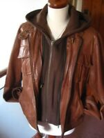 Ladies NEXT real brown leather JACKET UK 10 cafe racer biker hoody bomber