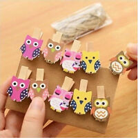 10Pcs Owl Wooden DIY Photo Picture Hanging Album Frame Clips With Hemp Rope MP