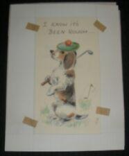 """GET WELL SOON Cute Dog Golfer Golf 4x7"""""""" Greeting Card Art #1687"""