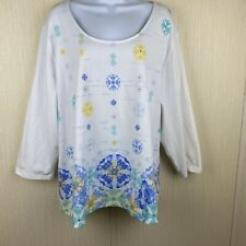 Hearts of Palm Womens 3X White Yellow Blue Print Beaded Stretch Top 3/4 Sleeves