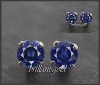 Ohrstecker Saphir blau 585 Gold je 4mm, 14 Karat Gelbgold/Weißgold Damen Schmuck