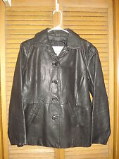 WOMEN'S LEATHER COAT WILSON LEATHER MAXIMA SIZE S EXCELLENT COND DULL BLACK
