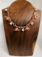 Vintage 1940s Celluloid Early Plastic Coral Chain Dangle Flower Charm Necklace
