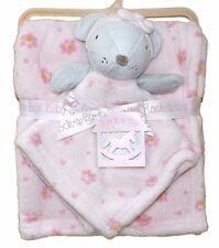 Super Soft Baby Girls Minky Fleece Blanket & Mouse Comforter Soft Toy Gift Set