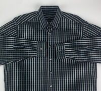 Ermenegildo Zegna Mens Button Front Shirt Black Beige Plaid Long Sleeve Italy XL