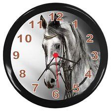 Grey Horse Portrait Room Decor Wall Clock