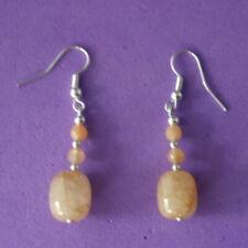 6.8 Gr. 3.3 Cm. Long + Hook Beautiful Earrings With Rutilade Jade & Citrine Gems