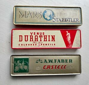 Four collectable pencil tin boxes Mars, Venus and  A W Faber