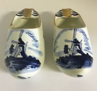 """Hand Painted 5"""" Ceramic Clogs Delfts Blauw Ashtrays Set of 2 Made In Holland"""