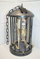 Gemmy Halloween Animated SREAMING Skeleton In A Cage Motion Activated WORKS!