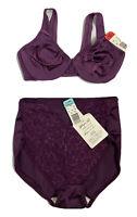 NOS VTG Purple Nylon Lingerie Set High Waisted Panty Lacy Whisper Soft XL 36C