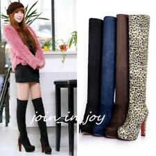Women Ladies Platform Stretch High Heel Over Knee Thigh Faux Suede Long Boots JJ