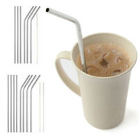 7/10p Stainless Steel Metal Drinking Straws Reusable Straw & Cleaner Brushes Kit