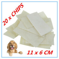 20 NATURAL BEEF RAWHIDE SQUARE CHIPS CHEWS LONG LASTING DOG TREAT ADULT PUPPY AP