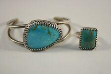 and Bracelet set Signed Vu Vintage Turquoise Sterling Silver Ring