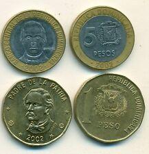 2 COINS from the DOMINICAN REPUBLIC - 1 PESO & BI-METAL 5 PESO (BOTH 2002)