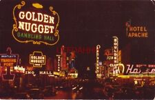 "1955 FREMONT STREET AT NIGHT ""Glitter Gulch"" LAS VEGAS NV Union Pacific RR photo"