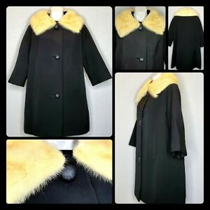 Vtg Neiman Marcus Wool Coat Mink Trim Swing Jacket Black Small-Medium 1960's