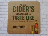 Beer Breweriana Coaster ~*~ THATCHERS Gold Apple Cider ~*~ Winscombe, ENGLAND