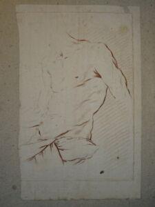 BELLE GRAVURE XVIII° SEPIA ETUDE ACADERMIQUE HOMME NU TORSE MUSCLE CORPS gay int