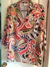 Alfred Dunner Ladies Tunic 16W Beadwork Coral Orange Blue Green Brown 3/4 sleeve