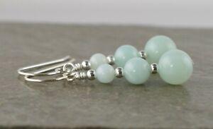 Graduated Pale Green Amazonite Gemstone & Sterling Silver Drop Earrings Gift Box