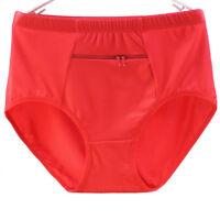 Women Underwear Cotton With Zipper Pocket Panties Solid High-Waist Briefs