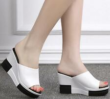 Summer Slippers Womens High Heels High Wedge Platform Sandals Shoes White US8