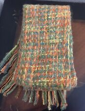 New Zealand Textured Hand Woven Merino Wool Scarf Olive Green and Coral.