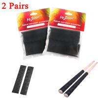 2 Pair of Mr.Power Black Drum Stick Grips Soft Tip Anti-slip Drumsticks Grip NEW