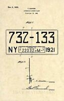 Official New York License Plate US Patent Art Print- Vintage 1923 Antique 307