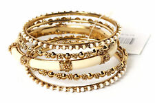 Women's Fashion Gold & Ivory Metal with Resin Bangle Bracelet Set Ivory/Gold