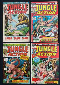 Jungle Action #1-4 comic lot of 4 (Marvel 1972) Bronze Age ~ Avg. 6.0 FN