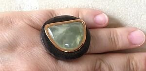 Size 8 Barse Ring, Genuine Olive Jade, Wood, Gold Plated over Sterling Silver