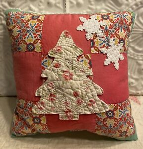 NEW  Handmade Christmas Tree Snowflakes Pillow Vintage Quilt Chenille Bedspread