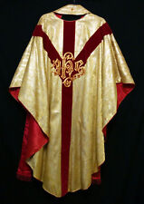 GOLD BROCADE CHASUBLE & STOLE Wheat IHS Priest Vestments Church Clergy Festive