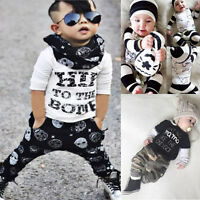2PCS Newborn Baby Boy Girl Outfit Clothes Long Sleeve T-shirt Top+Pants Set 0-3Y