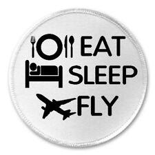 "Eat Sleep Fly - 3"" Sew / Iron On Patch Airplane Pilot Funny Joke Humor Gift"
