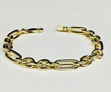 "18k solid Yellow gold (Figaro Pattern) ROLO link Chain/Bracelet 8"" 26 grms 6.5MM"