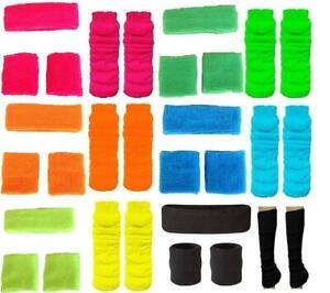 Neon Fluro Leg Warmers Headband Sweatbands 80's Disco Hens Fancy Dress Party