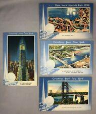 4 1939 NEW YORK WORLD's FAIR Postcard AMUSEMENT PARK Bridge CHRYSLER BUILDING