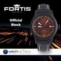 FORTIS AVIATIS AEROMASTER DUSK WATCH 42mm SWISS AUTO BLK PVD CASE 655.18.98 L01