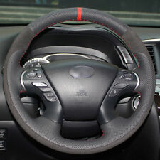 Top Black Leather Steering Wheel Cover Hand-stitch For Infiniti JX35 M35 Q70