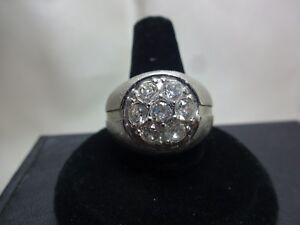 """MEN'S 18 KT. H.G.E. 1/2"""" CRYSTAL CLUSTER RING WITH BRUSHED FINISH SIZE 10 1/2"""