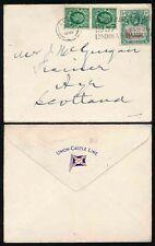 GB + ST HELENA 1937 on UNION CASTLE LINE ENVELOPE to SCOTLAND
