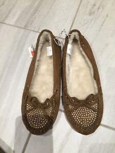 NWT JUSTICE Girls Size 7 1/2  Youth Brown Mocasines Shoes Fall Bts Comfy