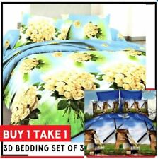Celebrity Collection 3D Bedding Set Buy 1 Take1 Roses and Windmill Design-SINGLE