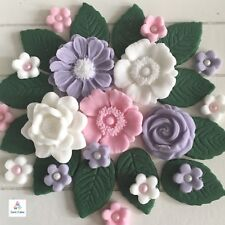 36 Pink Lilac White Edible Flowers Leaves Cupcake Toppers Decorations